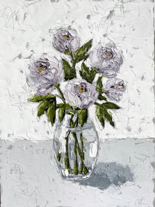 """Purple Peonies in Glass"" 48x36 Oil on Canvas"