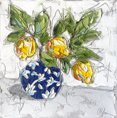 """Lemons in Chinoiserie I"" 12x12 Oil/Graphite on Canvas"