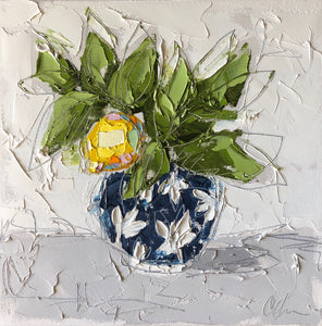 """Lemon in Blue Chinoiserie VI"" 12x12 Oil on Canvas"