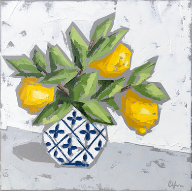 """Lemons in Blue and White no. 2"""