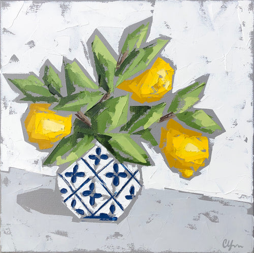 """Lemons in Blue and White no. 1"" 12x12"