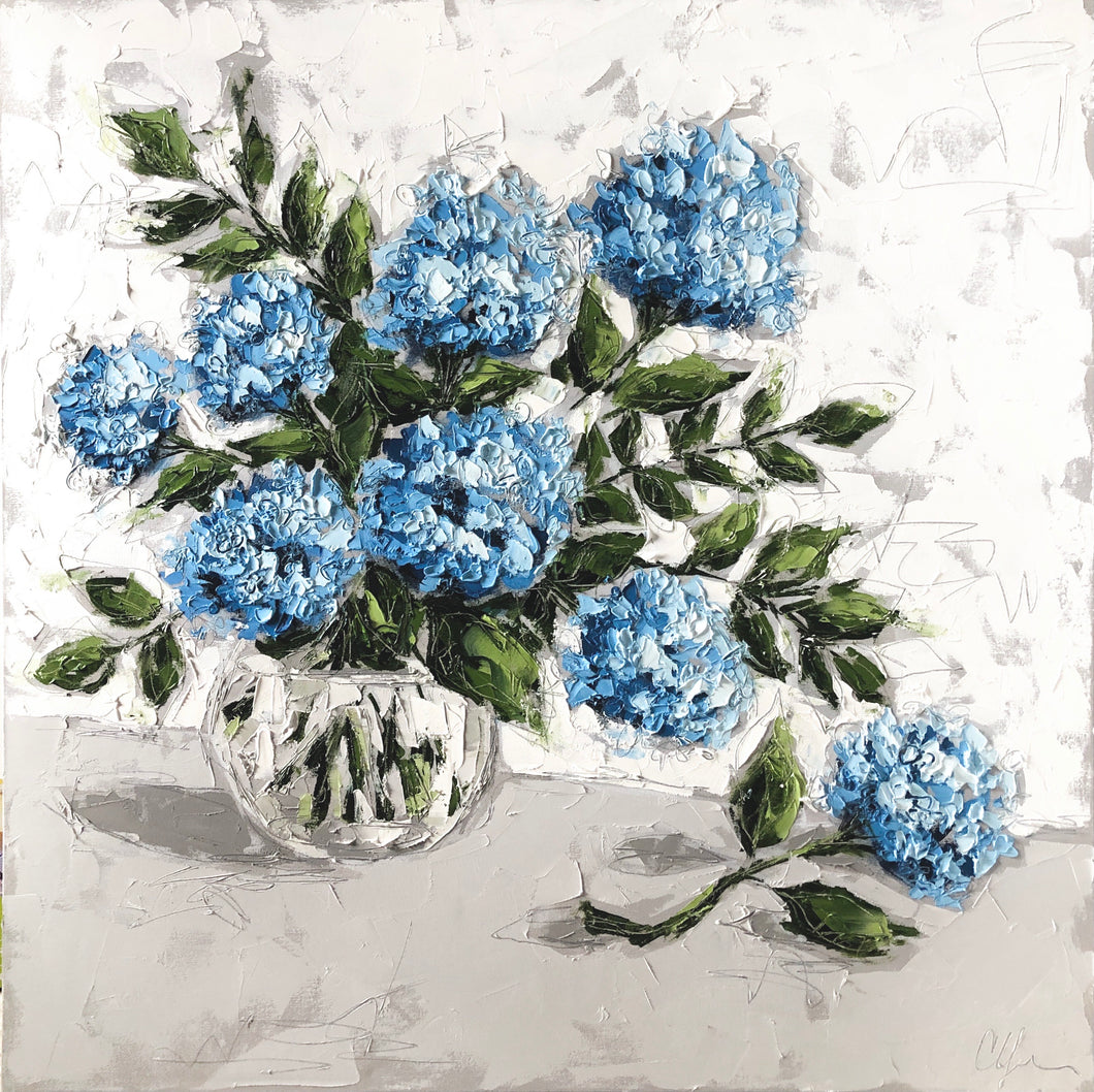 """Hydrangeas in Glass VI"" 36x36 Oil on Canvas"