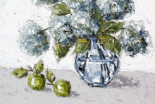 "Load image into Gallery viewer, ""Hydrangeas and Apples in Glass"" 48x48 Oil on Canvas"