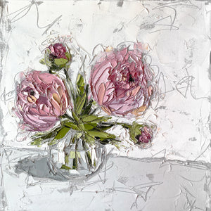 """Peonies in Glass II"" 20x20 Oil/Graphite on Canvas"
