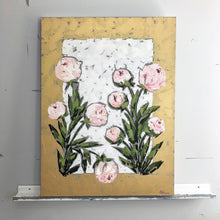 "Load image into Gallery viewer, ""Peonies on Gold"" 40x30"