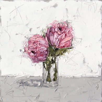 """Pink Peony in Glass X"" 24x24 Oil on Canvas"