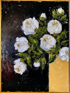 """White Peonies in Gold Vase"" Framed 48x36 Oil on Canvas"