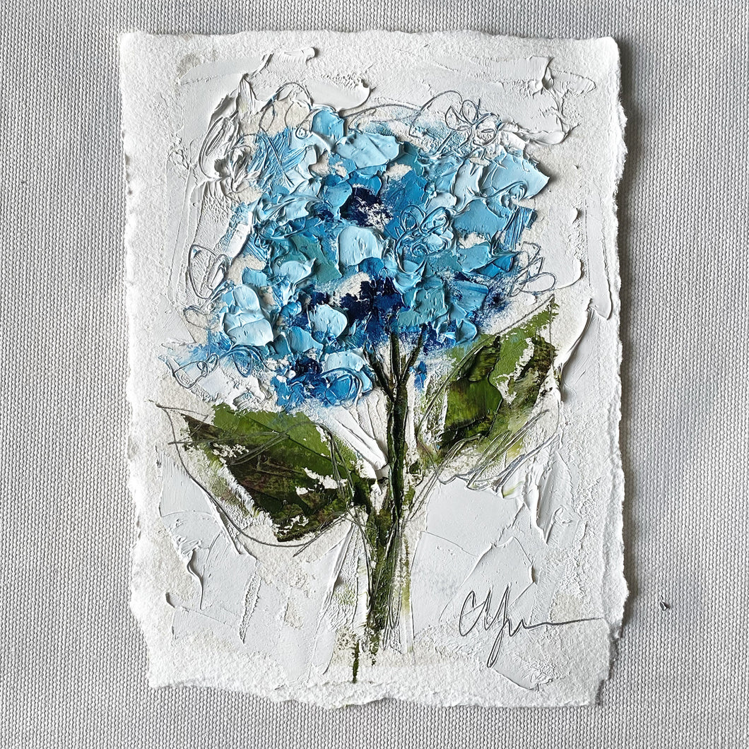 """Little Blue Hydrangea I"" 7x5 Oil on Paper"
