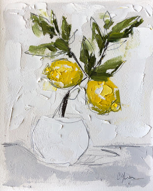 """Little Lemon Tree II"" 10x8 (16x13) Oil/Graphite on Paper"