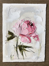"Load image into Gallery viewer, ""Peony Vignette V"" 7x5"" Oil/Graphite on Paper"