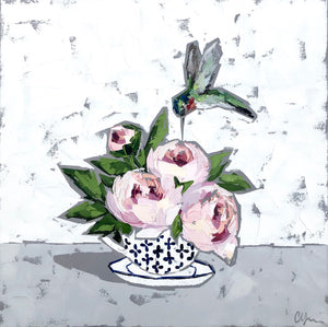 """Peonies and Hummingbird"" 20x20"