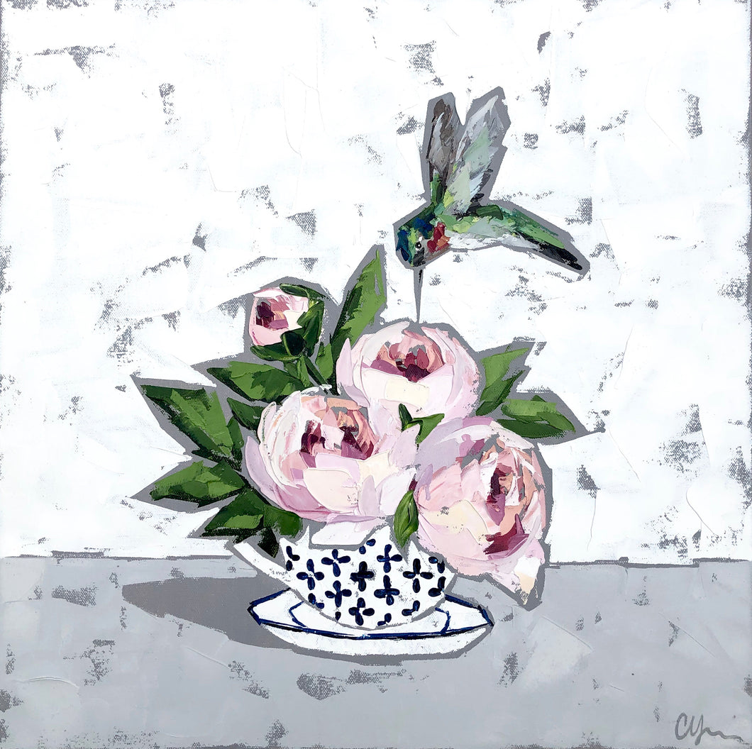 "SOLD - ""Peonies and Hummingbird"""