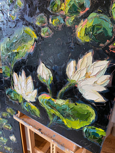 """Lilies and Lotuses VI"" 24x24 Oil on Canvas"