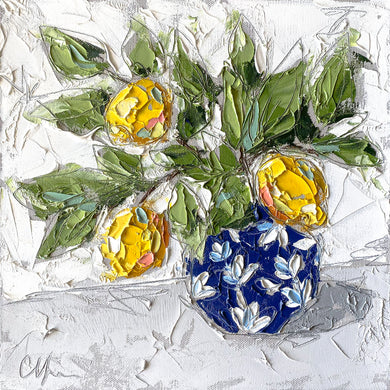 """Lemons in Chinoiserie II"" 12x12 Oil/Graphite on Canvas"
