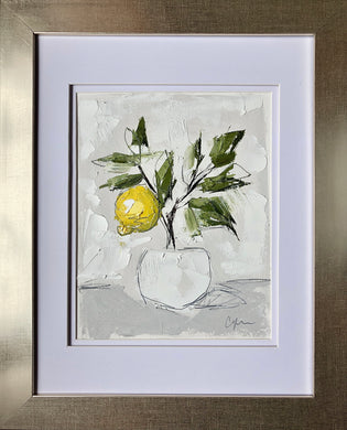 "SOLD - ""Little Lemon Tree I"" 10x8 (16x13) Oil/Graphite on Paper"