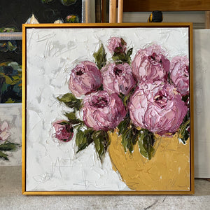 """Pink Peonies in Gold Bowl"" 24x24 Oil on Canvas"