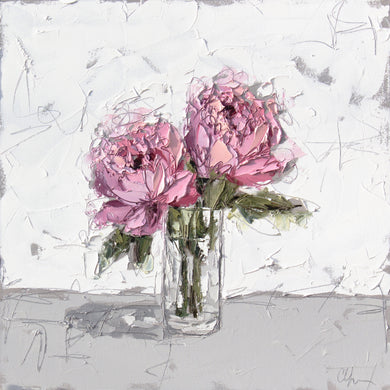 """Pink Peony in Glass XI"" 24x24 Oil on Canvas"