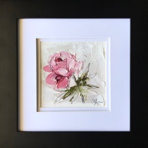 "SOLD - ""Peony Vignette XV"" 5x5"" Oil/Graphite on Paper"