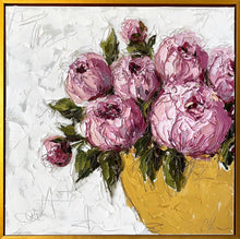 "Load image into Gallery viewer, ""Pink Peonies in Gold Bowl"" 24x24 Oil on Canvas"