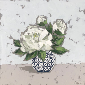"""Peonies in Blue and White"" 24x24 Acrylic"