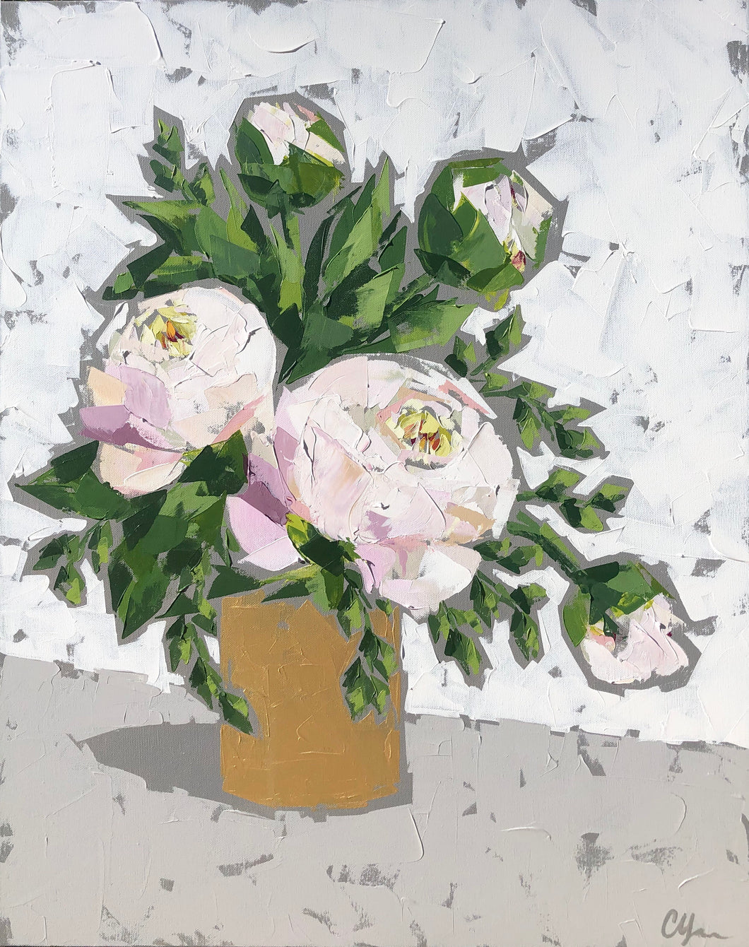 "SOLD - ""Peonies in Gold"""
