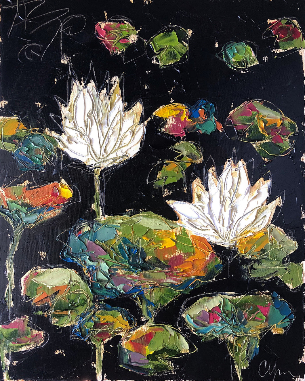 """Lilies and Lotuses VIII"" 20x16 Oil on Canvas"