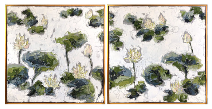 Lilies and Lotuses in Light I & II - 36x72 Oil
