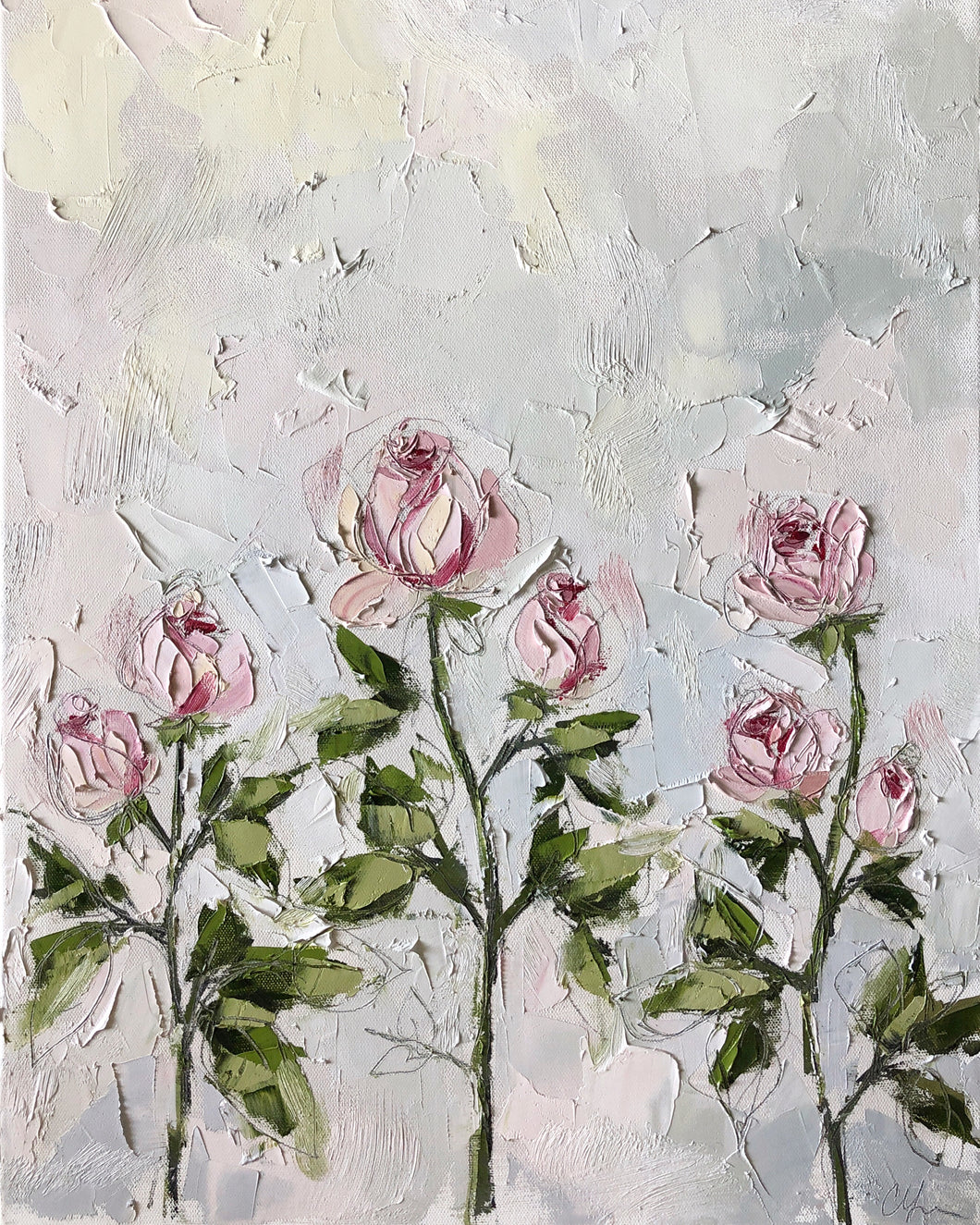 """Roses"" 24x18 Oil/Graphite on Canvas"
