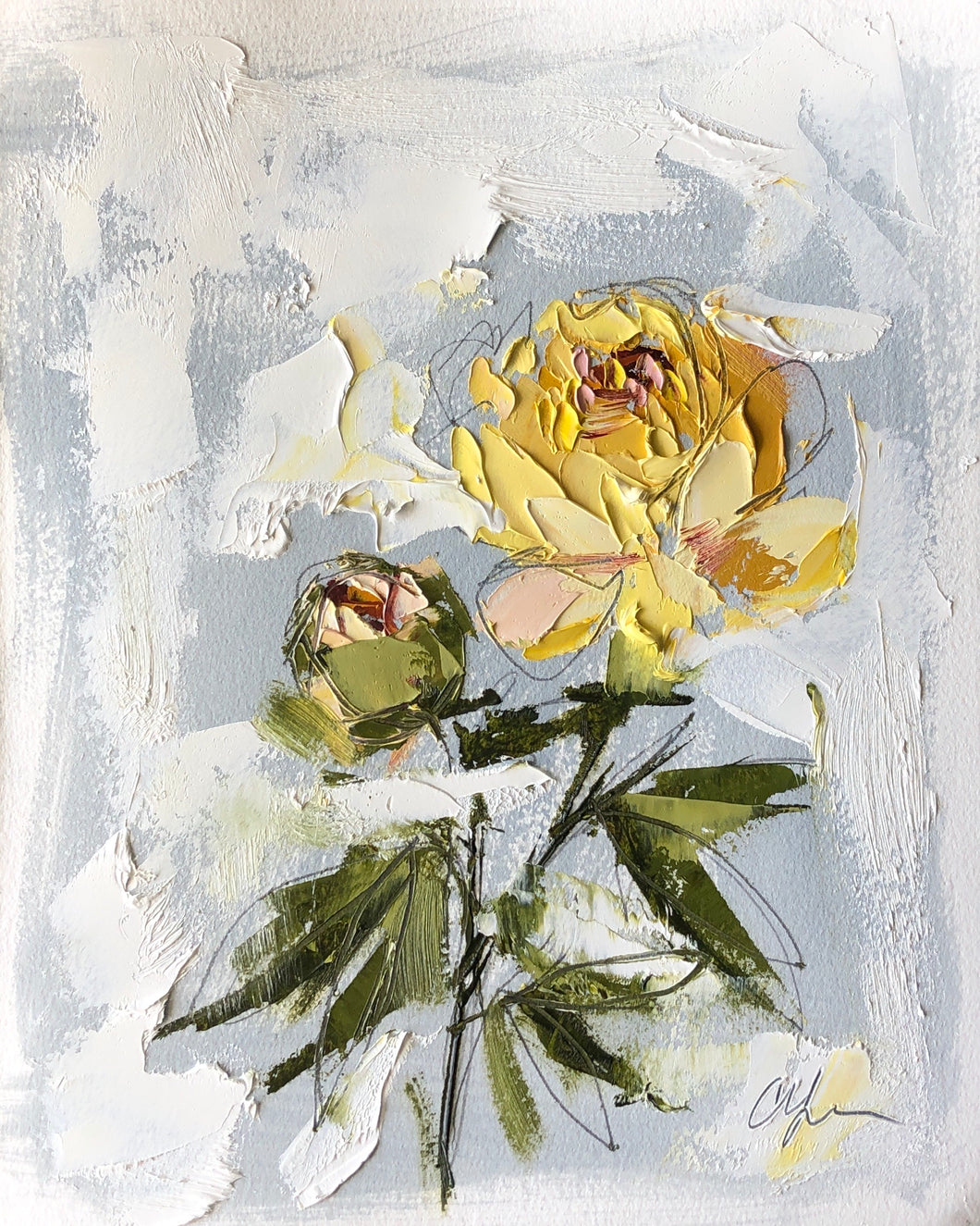 """PEONY VIGNETTE XXXIII"" 16.5x13.5 (10x8) Oil/Graphite on Paper"
