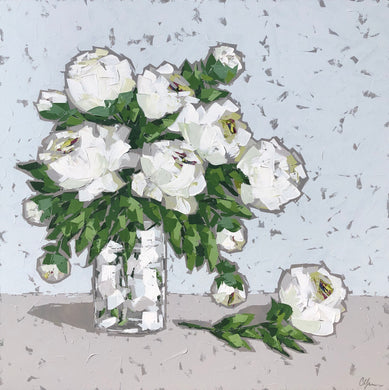 """White Peonies in Glass"" 