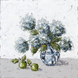 """Hydrangeas and Apples in Glass"" 48x48 Oil on Canvas"