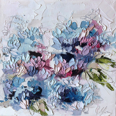 """Hydrangeas XI"" 12x12 Oil/Graphite on Canvas"