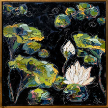 "Load image into Gallery viewer, ""Lilies and Lotuses V"" Framed 24x24 Oil on Canvas"