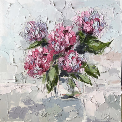 """Hydrangeas 8"" 20x20 Oil/Graphite on Canvas"