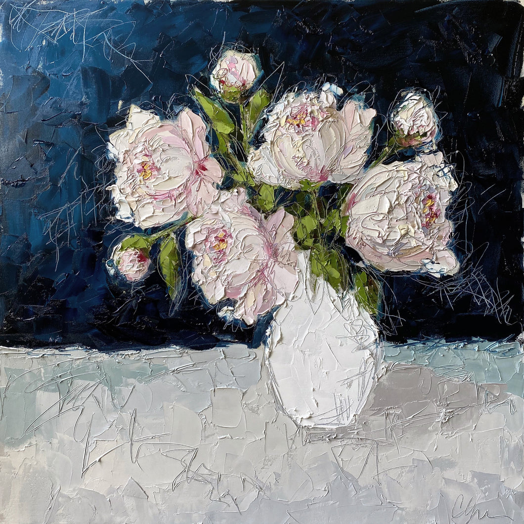 """Peonies in Blue"" 36x36 Oil on Canvas"
