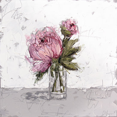 """Pink Peony in Glass XII"" 24x24 Oil on Canvas"