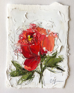 """Little Red Peony"" - 7x5 Oil on Paper"