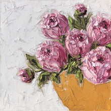 "Load image into Gallery viewer, Muller Commission -""Pink Peonies in Gold Bowl II"" 20x20 Oil on Canvas"