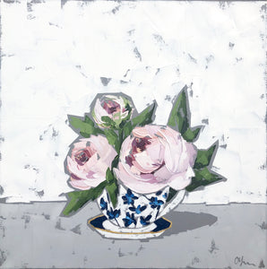 "SOLD - ""Peonies in Teacup"""