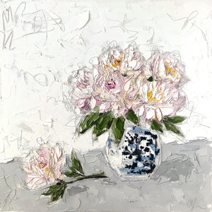 """Peonies in Chinoiserie"" 24x24 Oil on Canvas"