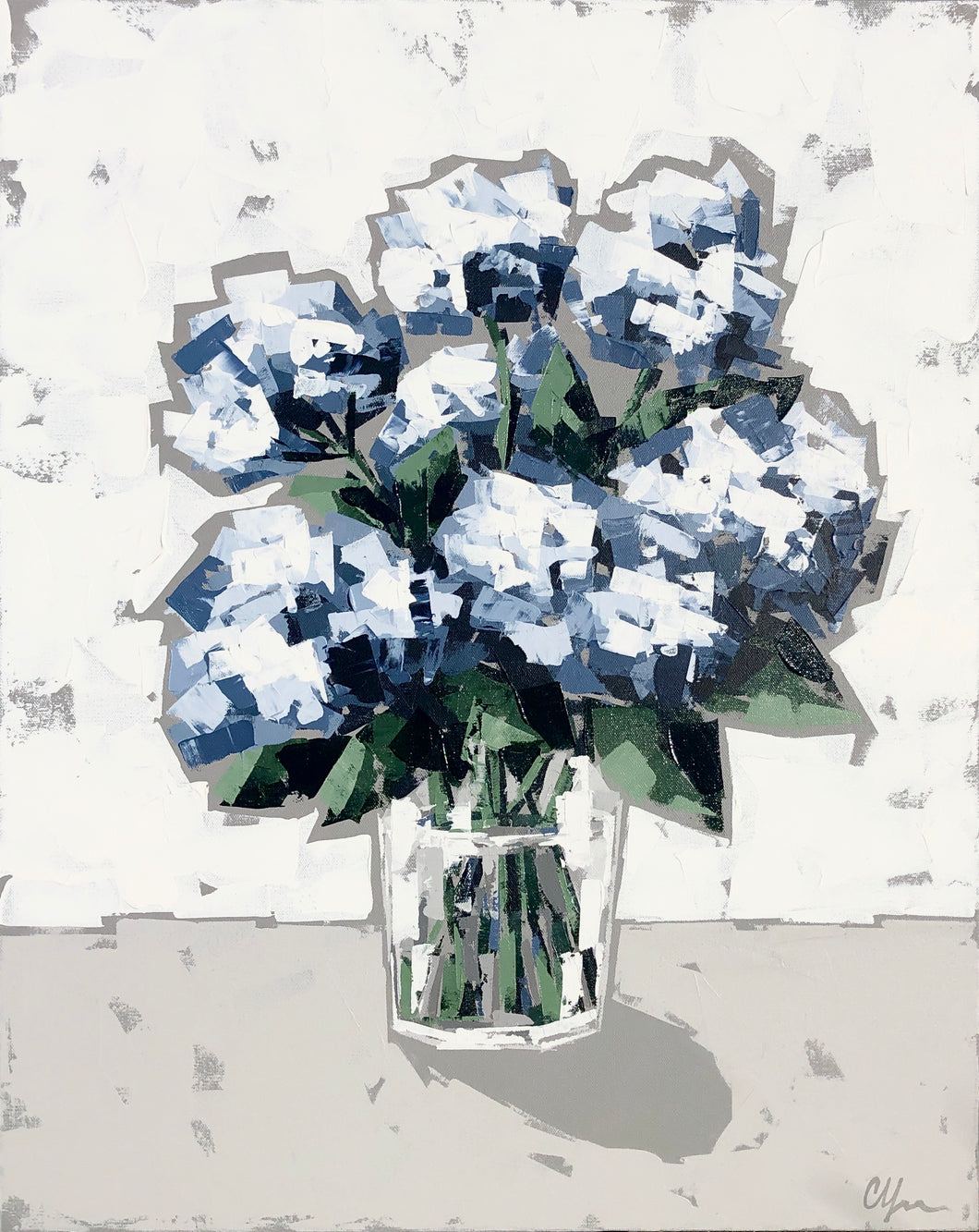 """Hydrangeas in Glass V"" 30x24"
