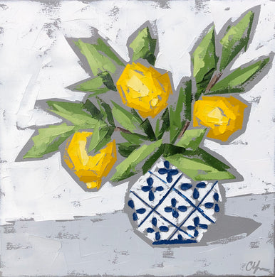 "SOLD - ""Lemons in Blue and White no. 1"""