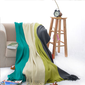 Four-color Stitching Cashmere Throw Blanket