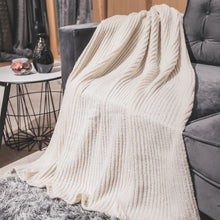 Load image into Gallery viewer, Cream Knit Throw Blanket