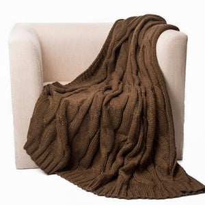Soft Knitted Dual Cable Throw Blanket