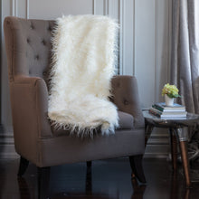 Load image into Gallery viewer, Mongolian White Faux Fur Throw