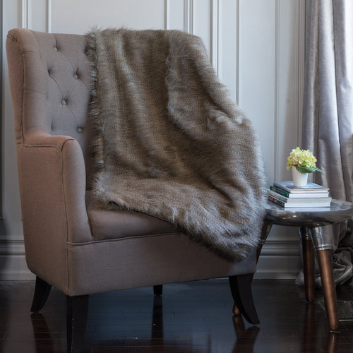 Swallow A Grey Faux Fur Throw