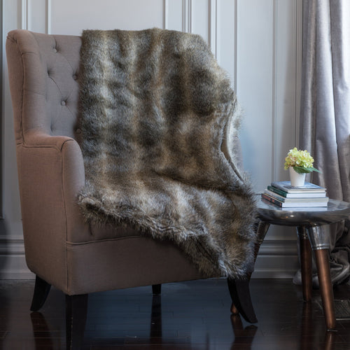 Beige Wolf Faux Fur Throw