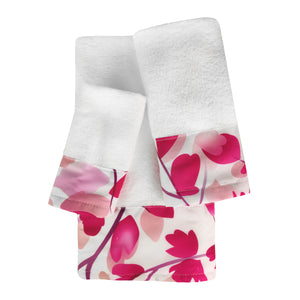 Blush 3pc Cotton Towel Set with Printed Border