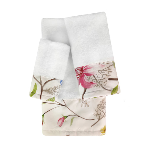 Botanical 3pc Cotton Towel Set with Printed Border